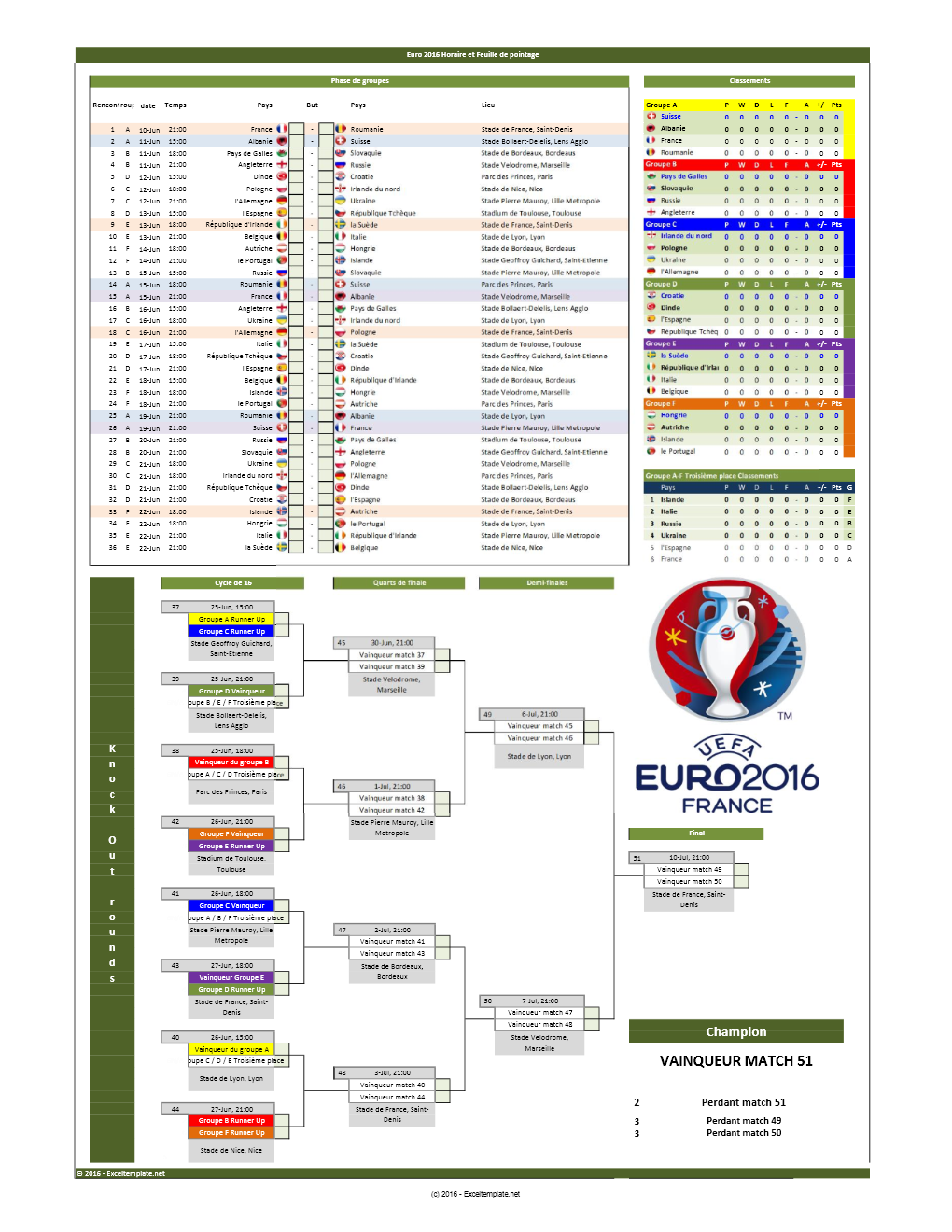 Championnat d 39 europe de football 2016 calendrier et feuille de match tableau excel - Calendrier coupe d europe 2016 ...