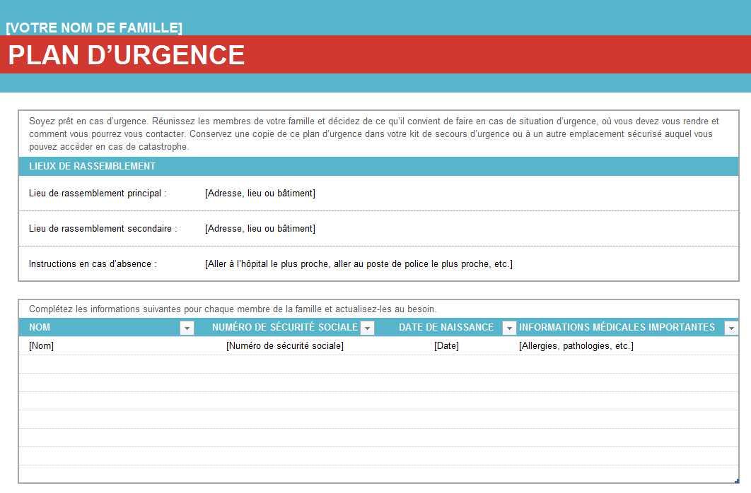 Souvent Plan urgence famille   Tableau Excel DG22