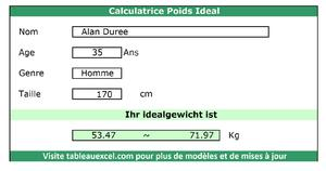Calculatrice Poids Ideal
