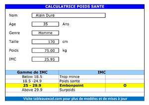 Calculatrice Poids Santé | Tableau Excel