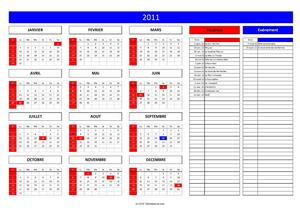 Calendrier Annuel | Tableau Excel