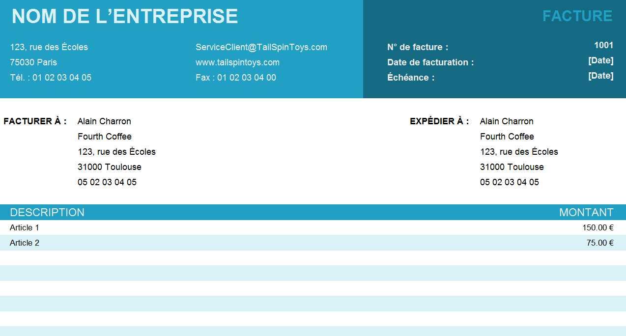 Facture simple | Tableau Excel