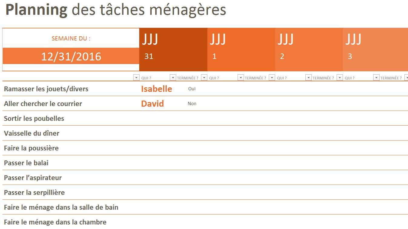 Planning Des Taches Menageres Tableau Excel
