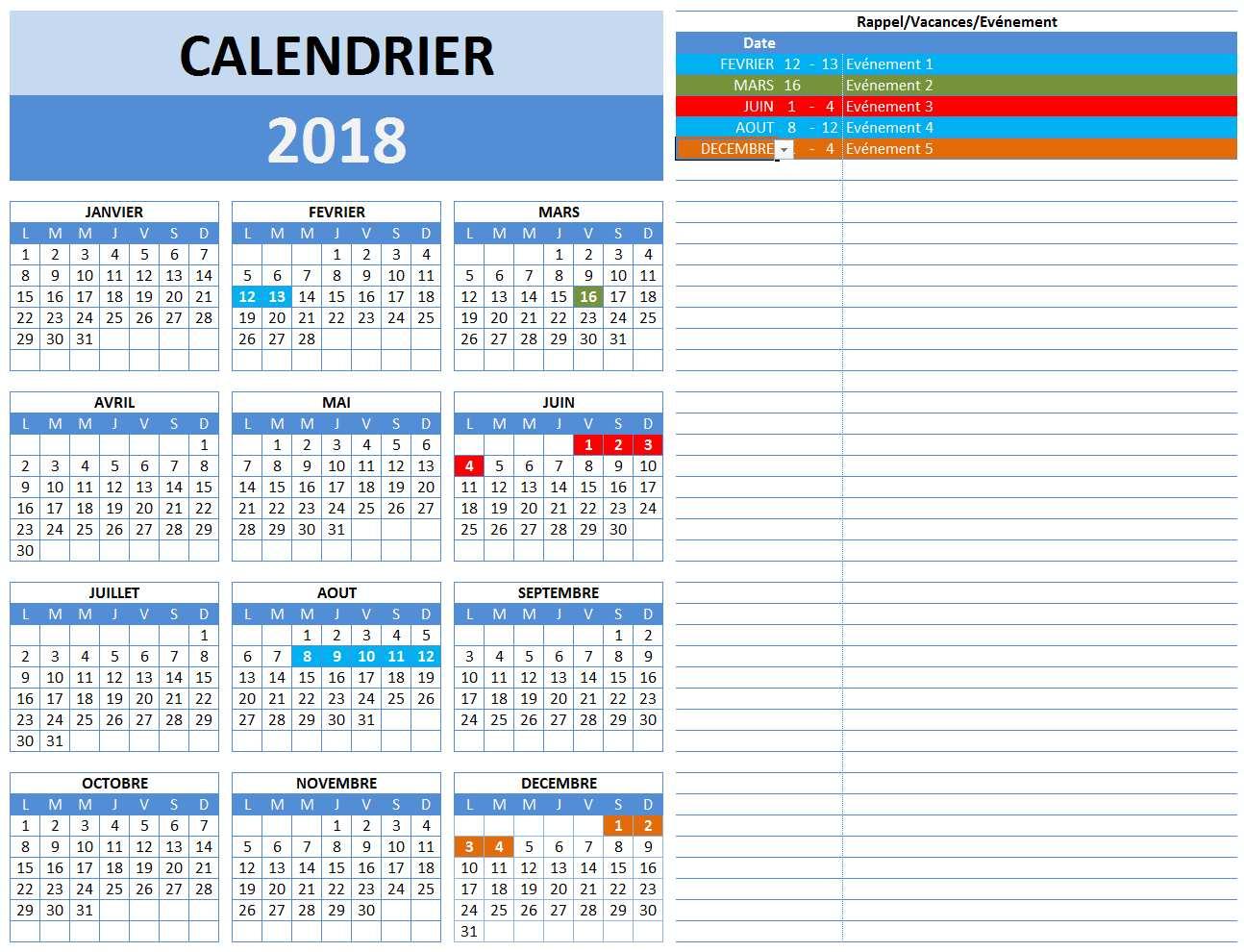 Coupe Du Monde De Football Calendrier.Calendrier 2018 Tableau Excel